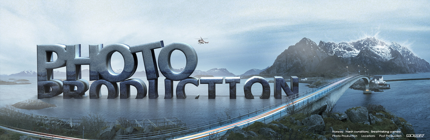 A Norwegian landscape with the 3D text Photo Productions for Monky Productions.