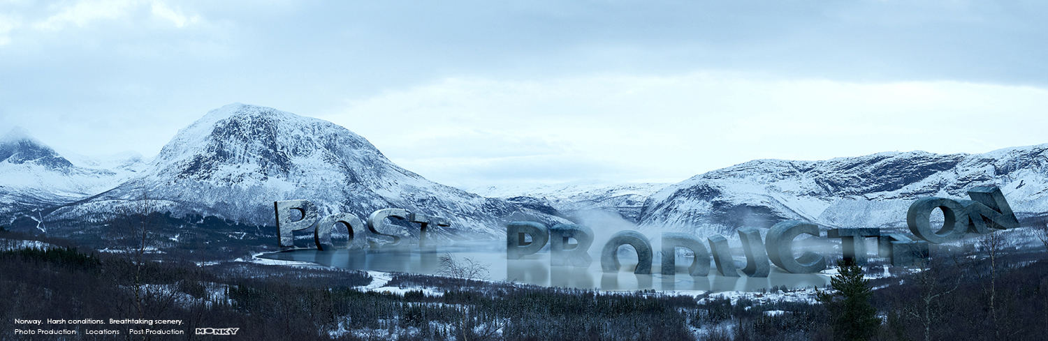 A Norwegian landscape with the 3D text Post Production.