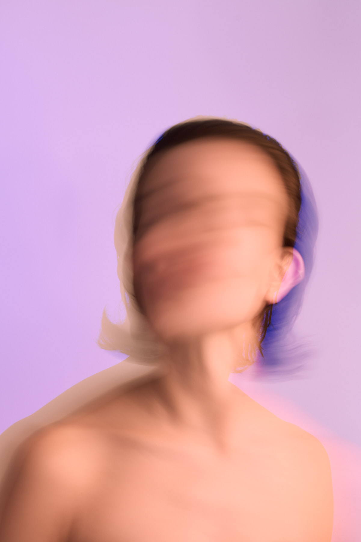 Blurry portrait of Norwegian actress Susanne Karin Moe.