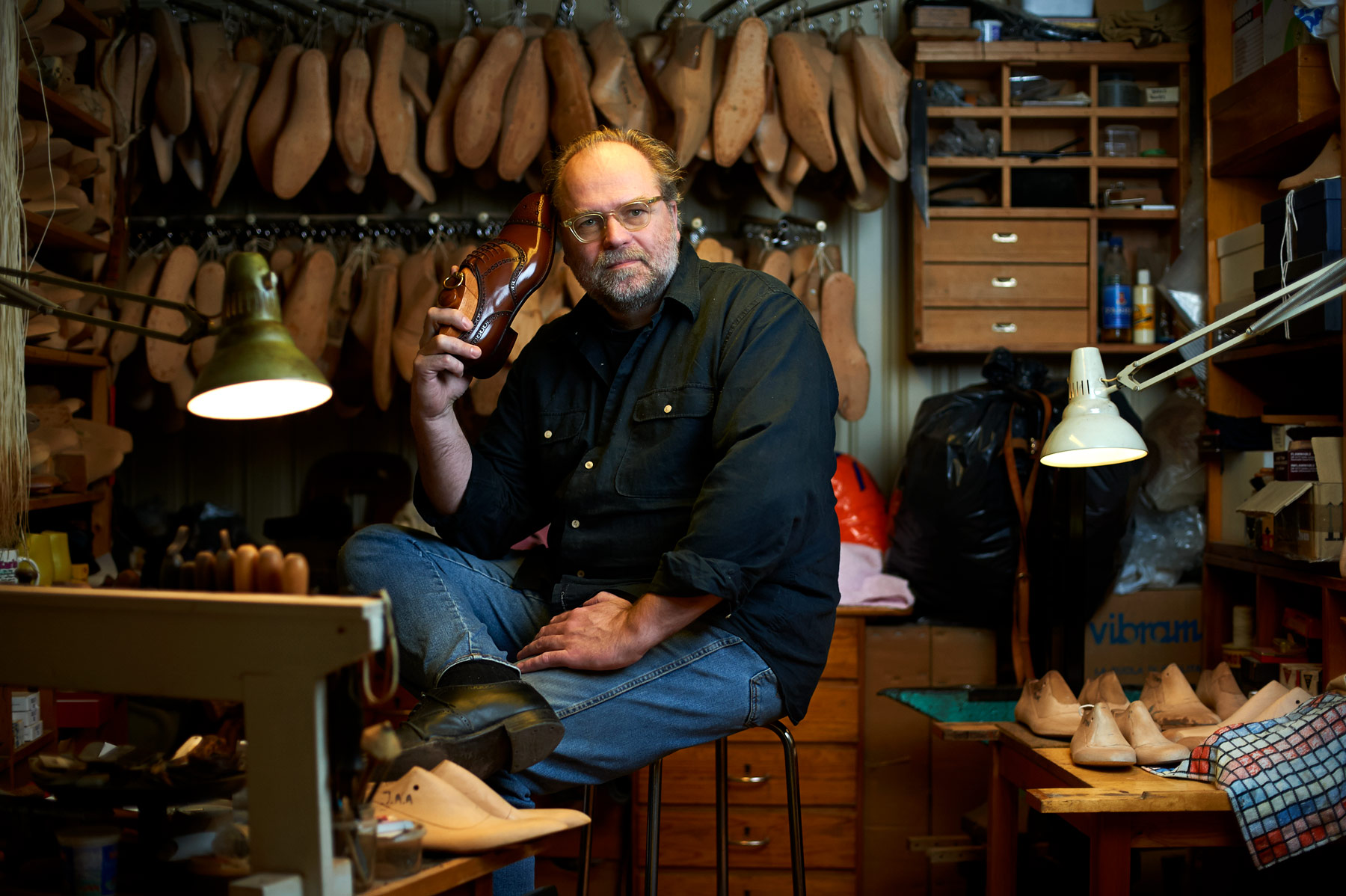 Portrait of Jan Petter Myhre at Bespoke Shoes in Oslo, from the book Mitt Oslo. By Håvard Schei