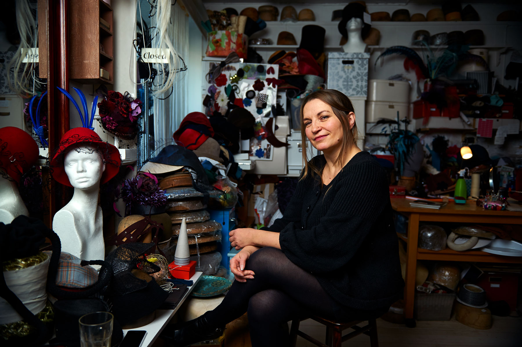 Portrait of Mona Strand a hat maker in Oslo, from the book Mitt Oslo. By Håvard Schei