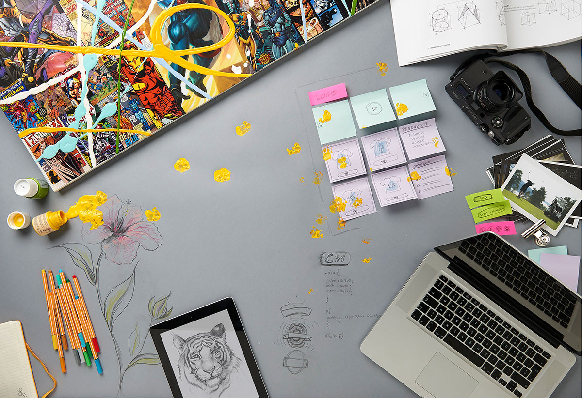 The messy work bench at the office of Plan A Kommunikasjon, by Håvard Schei.