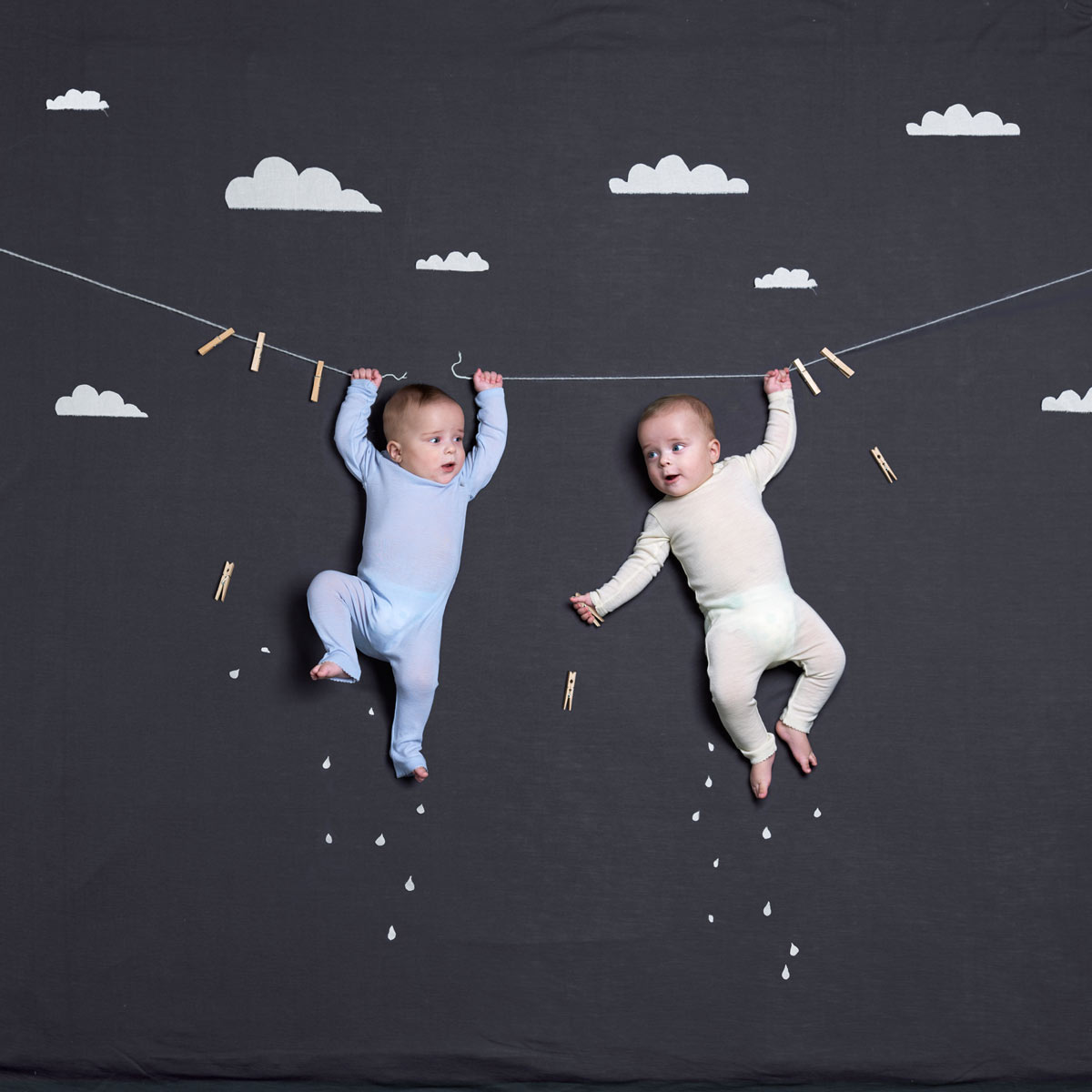 Twin boys hanging from a string. Advertising for Norwegian wool brand Lilli Leopold by håvard schei