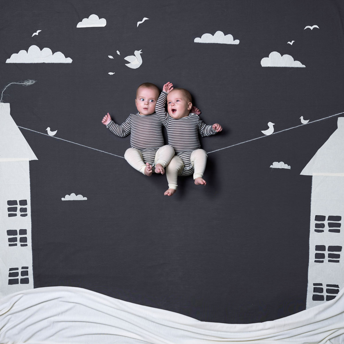 Twin boys on a string. Advertising for Norwegian wool brand Lilli Leopold by håvard schei