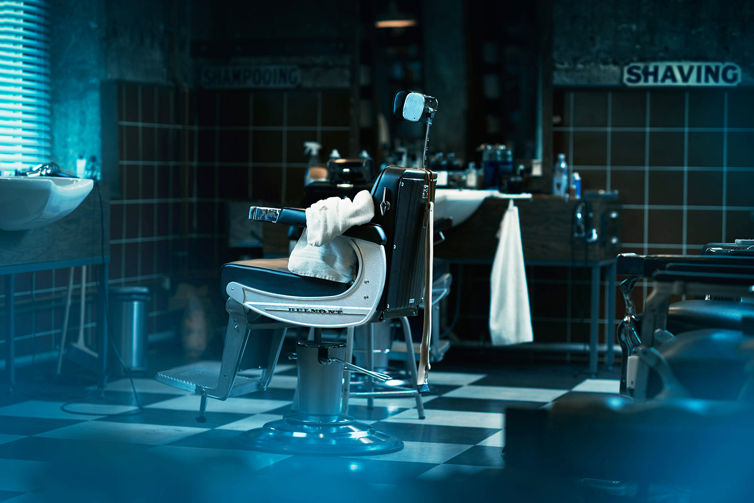 The barber chair, from a cinematic story about the barber. Shot at Pels Pels barbershop Oslo